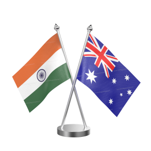 Australia Table Flag With Stainless Steel Base And Pole