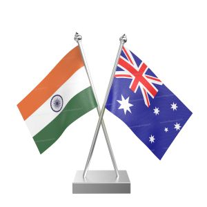Australia Table Flag With Stainless Steel Square Base And Pole