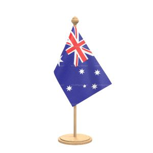 Australia Table Flag With wooden Base And wooden pole