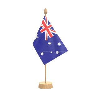 """Australia Table Flag With Wooden Base and 15"""" Wooden Pole"""