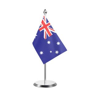 """Single Australia Table Flag with Stainless Steel Base and Pole with 15"""" pole"""