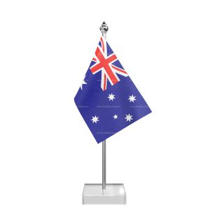 Australia Table Flag With Stainless Steel Pole And Transparent Acrylic Base Silver Top