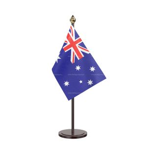 Australia Table Flag With Black Acrylic Base And Gold Top