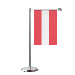 L Shape Table Austria Table Flag With Stainless Steel Base And Pole