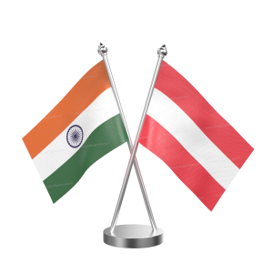Austria Table Flag With Stainless Steel Base And Pole