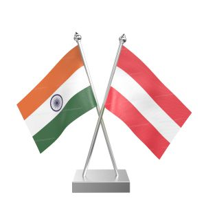 Austria Table Flag With Stainless Steel Square Base And Pole