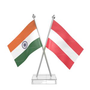 Austria Table Flag With Stainless Steel pole and transparent acrylic base silver top
