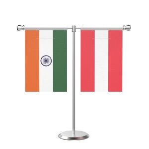 Austria T shaped Table Flag with Stainless Steel Base and Pole