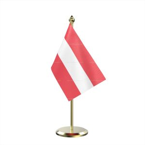 Single Austria Table Flag With Brass Base And Brass Pole