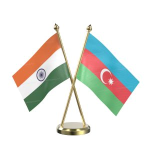 Azerbaijan Table Flag With Brass Base And Brass Pole