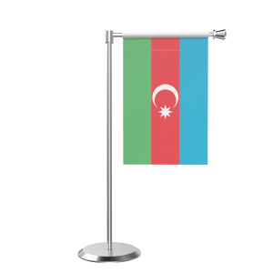 L Shape Azerbaijan India Table Flag With Stainless Steel Base And Pole