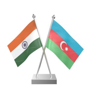 Azerbaijan Table Flag With Stainless Steel Square Base And Pole