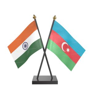 Azerbaijan Table Flag With Black Acrylic Base And Gold Top