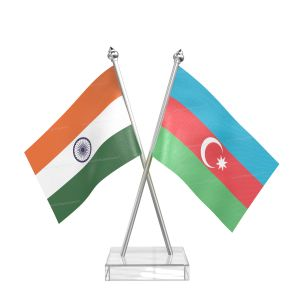 Azerbaijan Table Flag With Stainless Steel pole and transparent acrylic base silver top