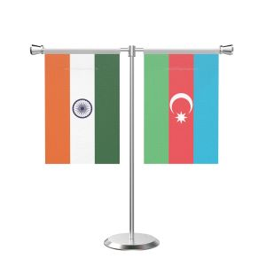 Azerbaijan T shaped Table Flag with Stainless Steel Base and Pole