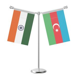 Y Shaped Azerbaijan Table Flag with Stainless Steel Base and Pole