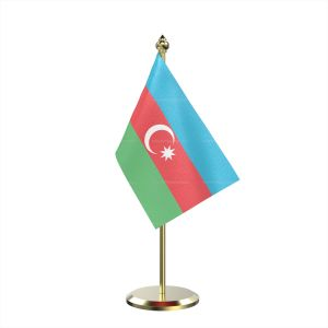 Single Azerbaijan Table Flag With Brass Base And Brass Pole