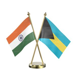 Bahamas Table Flag With Brass Base And Brass Pole