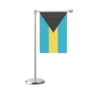 L Shape Table Bahamas Table Flag With Stainless Steel Base And Pole