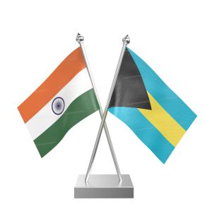 Bahamas Table Flag With Stainless Steel Square Base And Pole