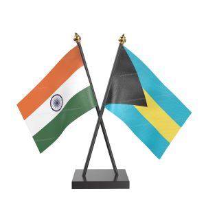 Bahamas Table Flag With Black Acrylic Base And Gold Top