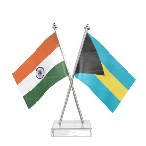 Bahamas Table Flag With Stainless Steel pole and transparent acrylic base silver top