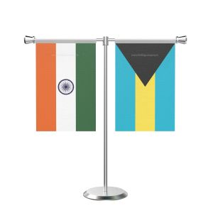 Bahamas T shaped Table Flag with Stainless Steel Base and Pole
