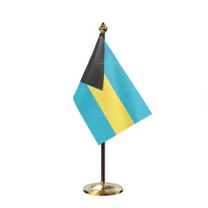 Bahamas Table Flag With Golden Base And Plastic pole