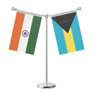 Y Shaped Bahamas Table Flag with Stainless Steel Base and Pole