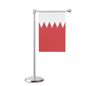 L Shape Table Bahrain Table Flag With Stainless Steel Base And Pole