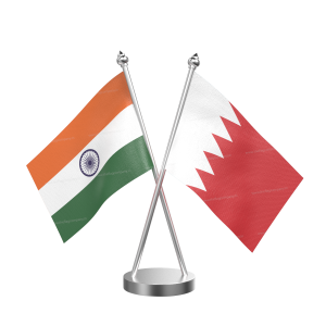 Bahrain Table Flag With Stainless Steel Base And Pole