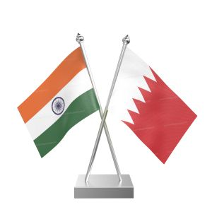 Bahrain Table Flag With Stainless Steel Square Base And Pole