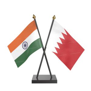 Bahrain Table Flag With Black Acrylic Base And Gold Top