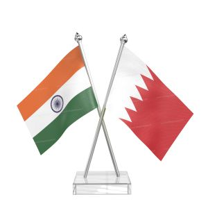 Bahrain Table Flag With Stainless Steel pole and transparent acrylic base silver top