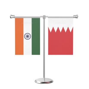 Bahrain T shaped Table Flag with Stainless Steel Base and Pole
