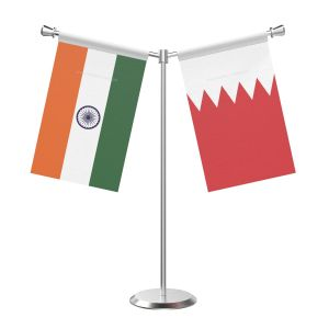 Y Shaped Bahrain Table Flag with Stainless Steel Base and Pole