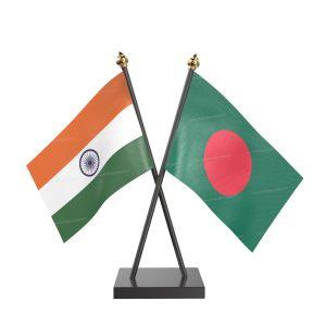 Bangladesh Table Flag With Black Acrylic Base And Gold Top