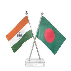Bangladesh Table Flag With Stainless Steel pole and transparent acrylic base silver top