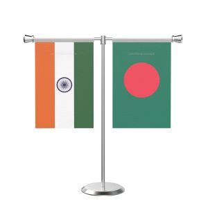 Bangladesh T shaped Table Flag with Stainless Steel Base and Pole