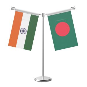 Y Shaped Bangladesh Table Flag with Stainless Steel Base and Pole