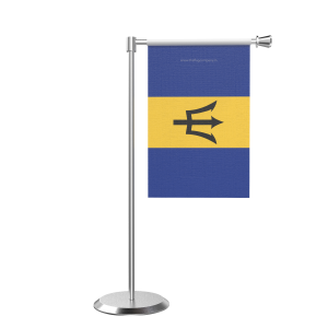 L Shape Table Barbados Table Flag With Stainless Steel Base And Pole