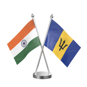 Barbados Table Flag With Stainless Steel Base And Pole