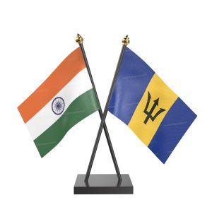 Barbados Table Flag With Black Acrylic Base And Gold Top