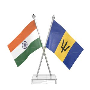 Barbados Table Flag With Stainless Steel pole and transparent acrylic base silver top