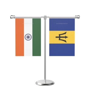 Barbados T shaped Table Flag with Stainless Steel Base and Pole