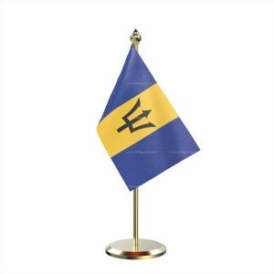 Single Barbados Table Flag With Brass Base And Brass Pole