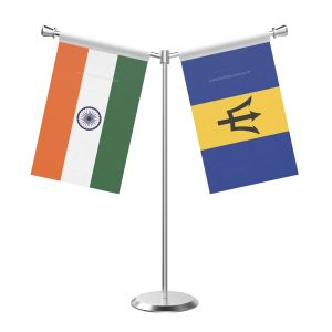 Y Shaped Barbados Table Flag with Stainless Steel Base and Pole
