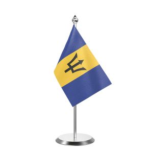 """Single Barbados Table Flag with Stainless Steel Base and Pole with 15"""" pole"""