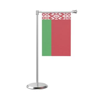 L Shape Table Belarus Table Flag With Stainless Steel Base And Pole