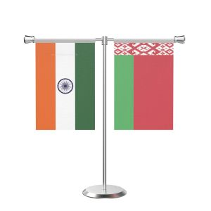 Belarus T shaped Table Flag with Stainless Steel Base and Pole